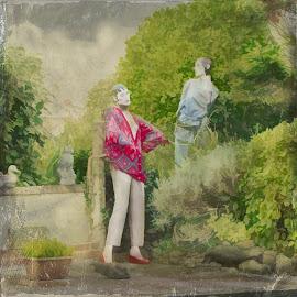 Secret liaison by Brad Cheek - City,  Street & Park  Street Scenes ( relationship, old, shrubbery, garden, people )