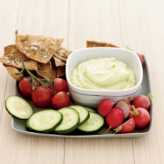 Curried Tofu-and-Avocado Dip with Rosemary Pita Chips.