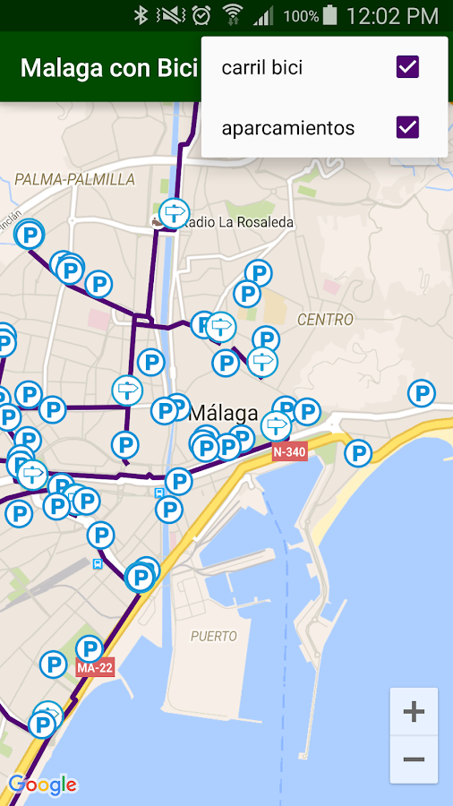 Malaga with bike- screenshot