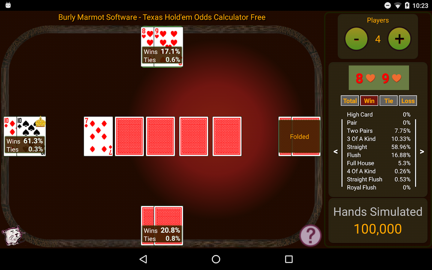 Hold'em Odds Calculator Free- screenshot