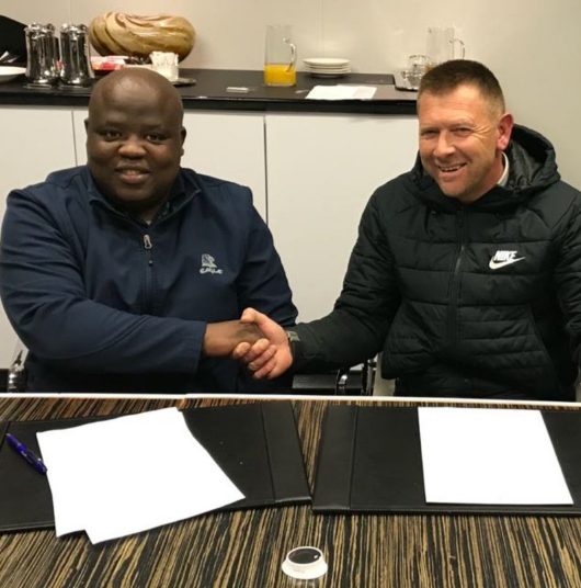 Chippa United new coach Eric Tinkler and club's Chippa Mpengesi.