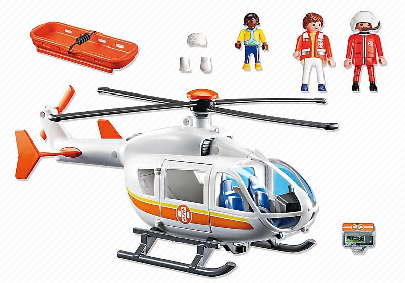 Contenido Real de Playmobil® 6686 Helicóptero Médico de Emergencias