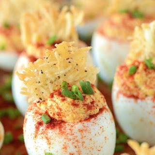 Mama's Deviled Eggs with a Parmesean Crisp
