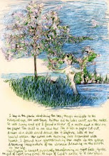 """Photo: Daphne, 20.5cm x 30cm, 8"""" x 11.75"""", dip pen with India, acrylic and fountain pen inks, Moleskine Folio Sketchbook A4.  I lay in the park sketching the tree; though invisible to the biological eye, she was there. Neither did the lake exist, nor the rocks. It was sunny and yet I found a sliver of a moon and a star on the paper. The child in me saw her. She is like a paper cut-out, drawn as a child would draw; she is Daphne. Look at her laurel crown. Her arms are turning into branches with leaves. I found her ghostdrawing her myth in the green dreaming imagination of the woman drawing in the book on her lap.  This Daphne is caught, perpetually transforming, as night falls. Apollo, the god of light, long gone. No sign of Cupid's arrow, if it ever flew.  (scanned image, not so accurate on richness of colour in the 'pearlescent' inks, but nice overall effect)"""