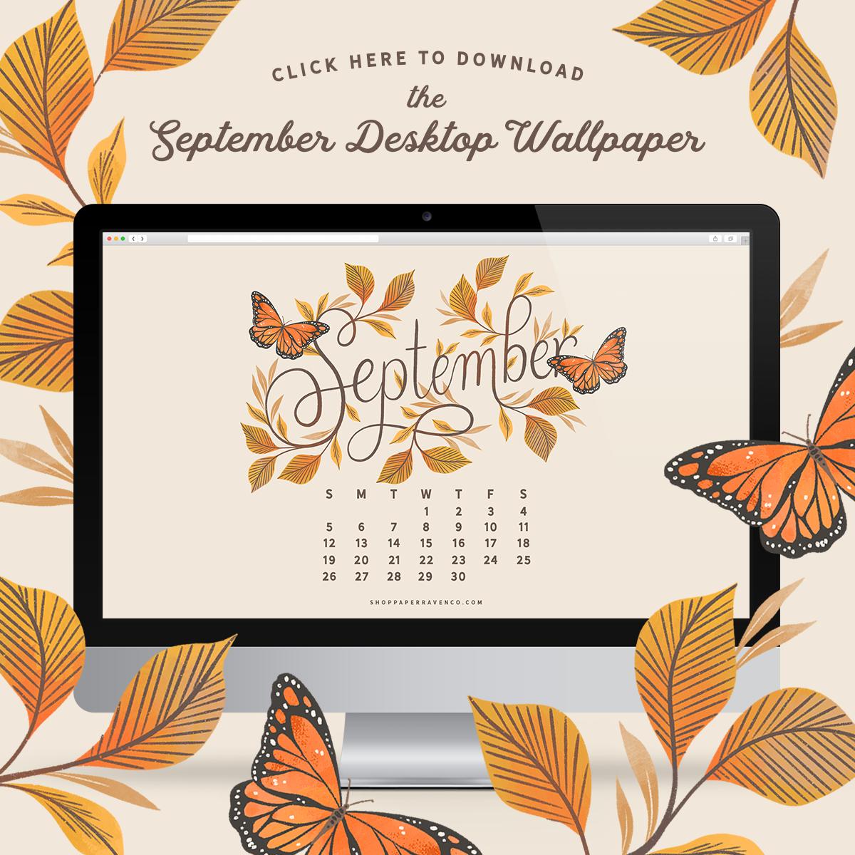 September 2021 Illustrated Desktop Wallpaper by Paper Raven Co. #dressyourtech #desktopwallpaper