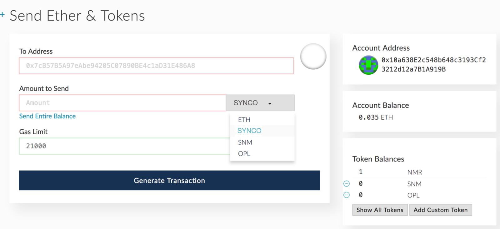 chọn token synco trên ví myetherwallet