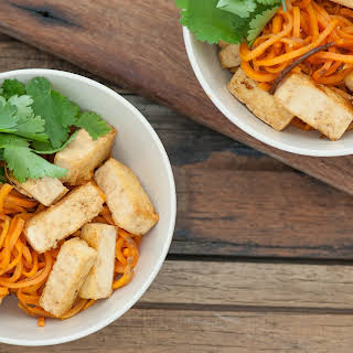 Honey & Soy Tofu with Sweet Potato 'Noodles'.