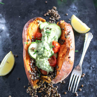 Stuffed Sweet Potato with Cashew-Chives-Chutney & Beluga Lentils