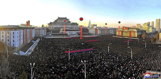 A view of celebrations at North Korea's Kim Il-sung Square on December 1, in this photo released by state-run Korean Central News Agency (KCNA) in Pyongyang on December 2 2017. Picture: KCNA VIA REUTERS
