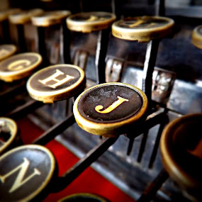 J by Ana Cárdenas O - Artistic Objects Antiques ( typewriter, keys, j, letters, objects,  )