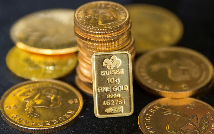 Gold bullion is displayed at Hatton Garden Metals precious metal dealers in London. Picture: REUTERS/NEIL HALL