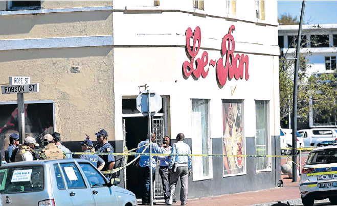 Le Bon Bakery in Rose Street, Central, cardoned off after the shooting