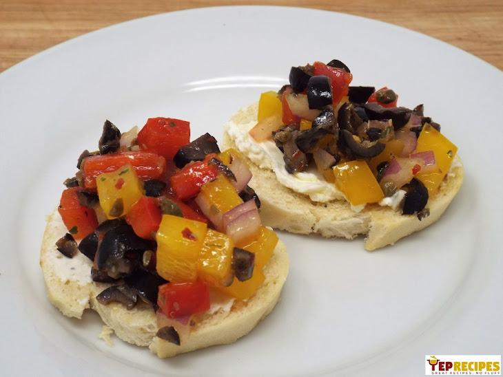 Cream Cheese Crostini with Spicy Italian Salsa Recipe