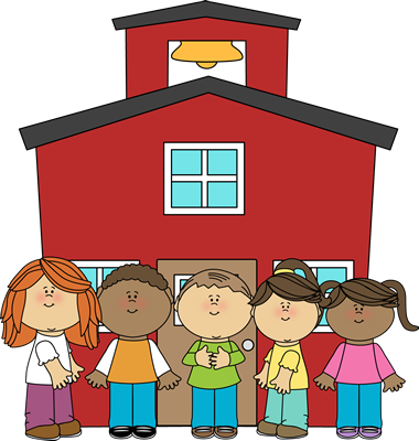 Image of School Building  and children standing in front of building.