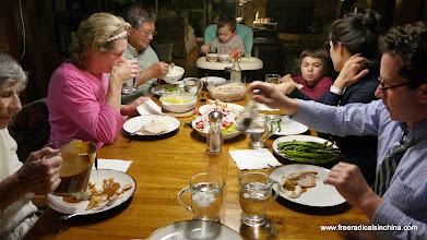 Photo: Family dinner - Not sure what's happening with Caden