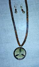 Photo: Wood & brass pendant, bone, gold vermeil  SOLD/ПРОДАНИЙ