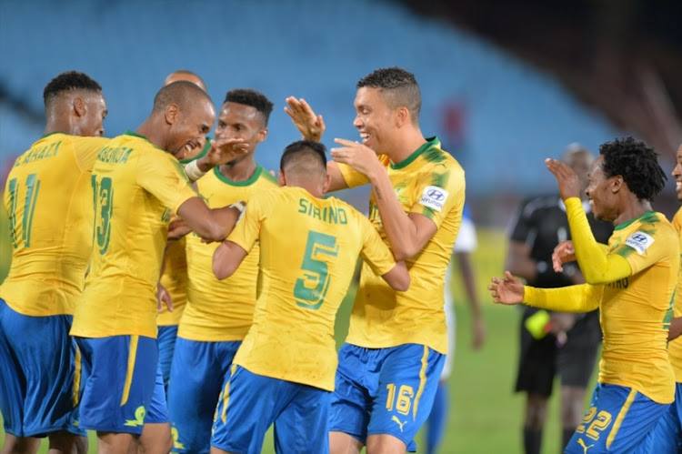 Sibusiso Vilakazi of Mamelodi Sundowns celebrates his goal with teammates during the CAF Champions League match between Mamelodi Sundowns and Rayon Sports at Lucas Moripe Stadium on March 18, 2018 in Pretoria, South Africa.