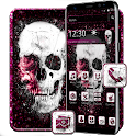 Pink Glitter skull Theme icon