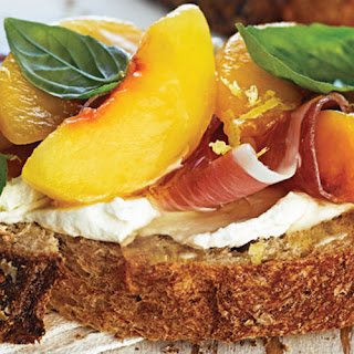 Peach, Prosciutto and Lemon-Whipped Goat Cheese Tartine on ACE Bakery Honey Whole Wheat
