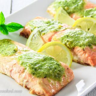 Butter Pesto Salmon.