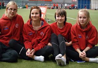 Photo: T15 Indoorien voittoisa aitajoukkue: Merika Sumanen, Miia Sillman, Reetta Hurske ja Sanni Koskela