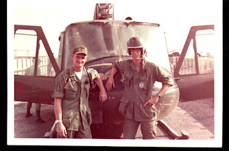 Photo: Chopper Pilot WO Mike Conway with 231st fellow trooper  231st,  Dave Coe.  1968 South Vietnam.