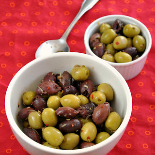 Lemon Marinated Olives with Rosemary, Coriander, and Fennel.
