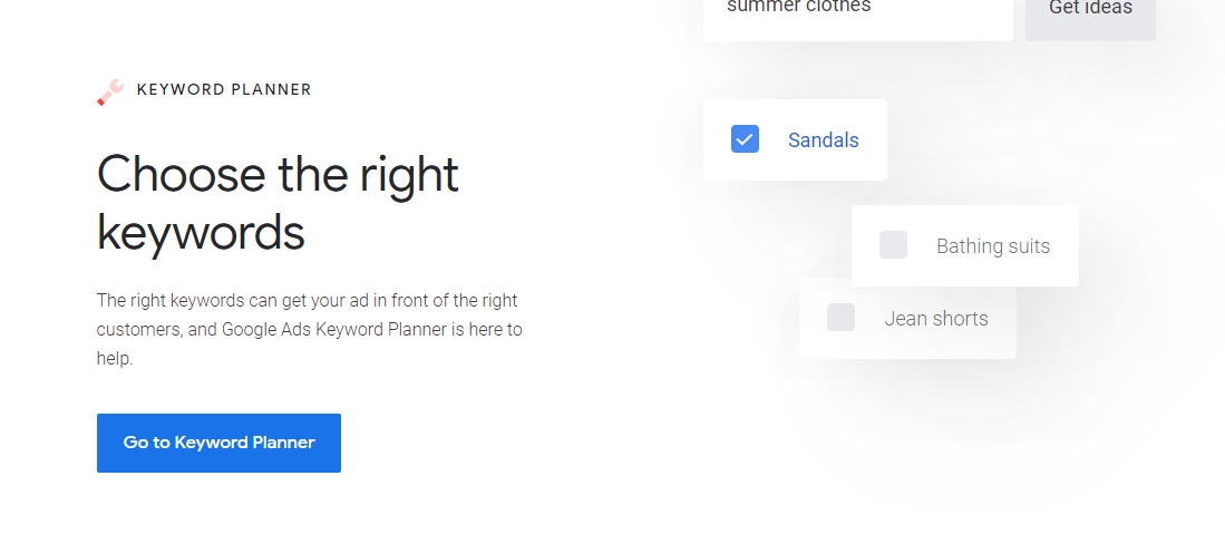 google keyword planner tool homepage screenshot