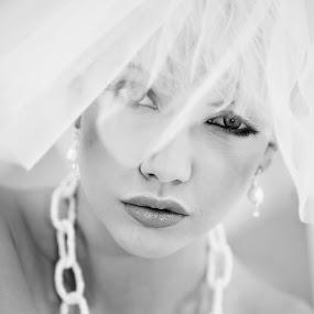 Jodie by Katja Zagar Photography - Wedding Bride ( charming, elegant, beautiful, mysterious, bride, portrait, black&white )