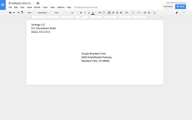 Envelopes Google Docs Add On