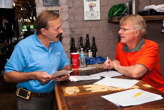 Photo: Jan Waldron talks to Doug Harrel