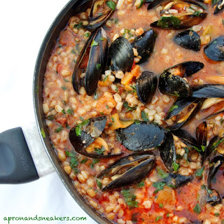 Farro Tomato Soup with Pancetta & Mussels