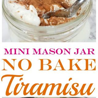 Mini No Bake Tiramisu in Mason Jars.