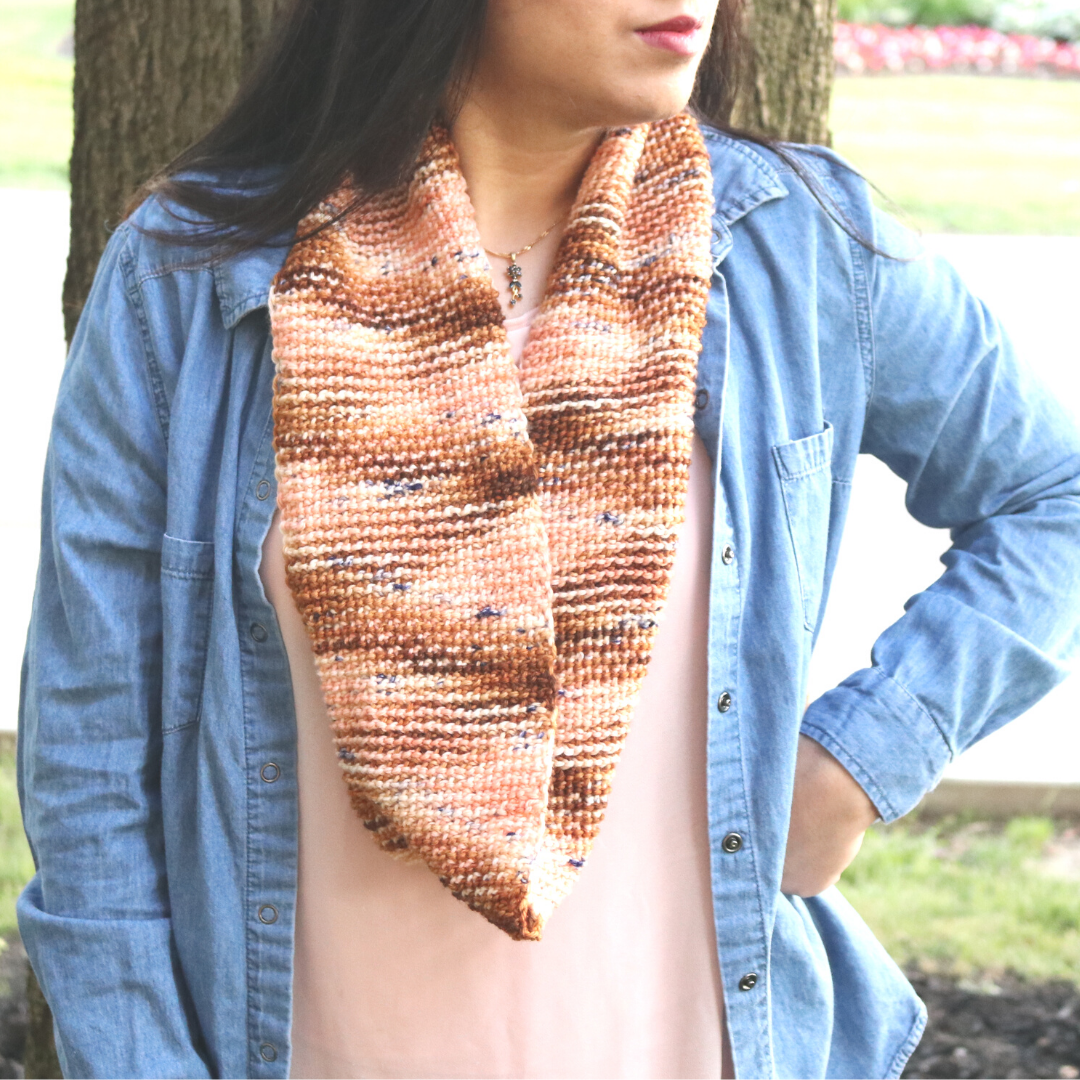 Tunisian crochet scarf patterns are so fun! Here is a FREE beginner Tunisian crochet pattern with a fun textured stitch and hand-dyed yarn.
