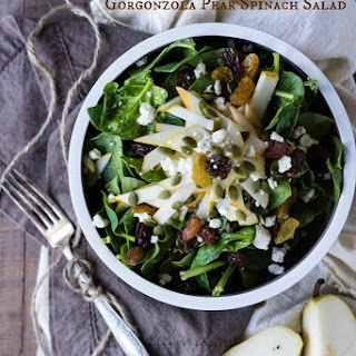 Gorgonzola Pear Spinach Salad with White Balsamic Dressing