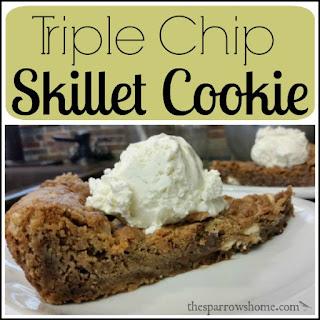 Triple Chip Skillet Cookie Recipe