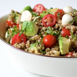 Cauliflower Rice Caprese Avocado Salad.
