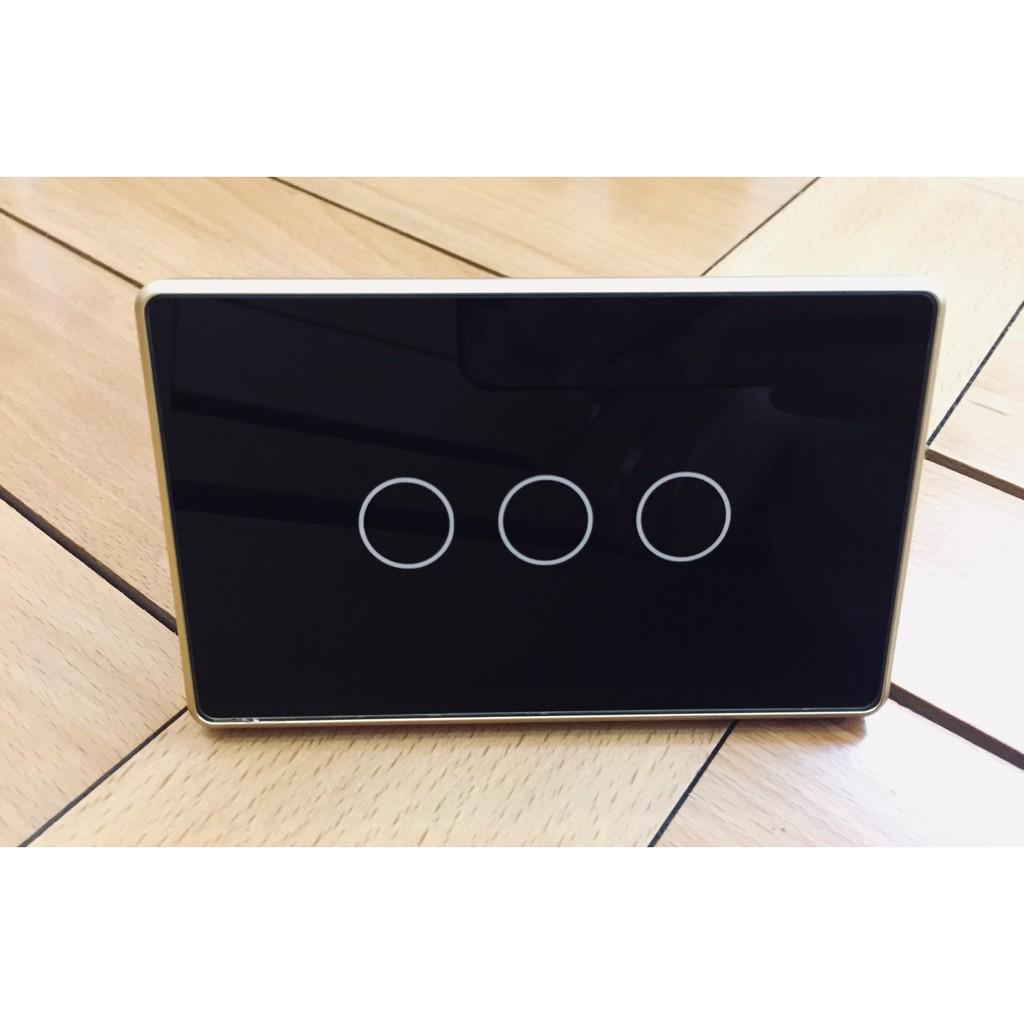 công tắc cảm ứng viền nhôm màu đen 3 nút chữ nhật