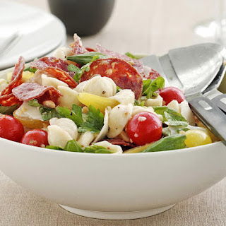 Warm Salami and Tomato Pasta Salad.