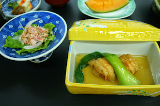 Photo: 温物:湯葉豆腐 酢の物:かにサラダ