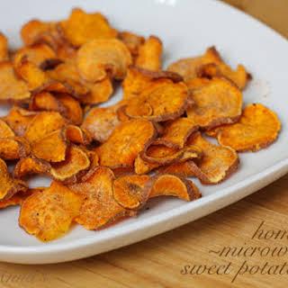 Easy Homemade Microwave Sweet Potato Chips.