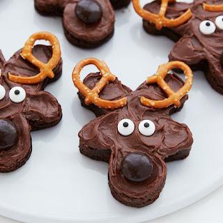 Easy Frosted Reindeer Brownies.