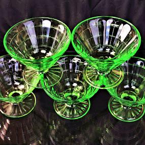 Uranium Glass by Angelika Sauer - Artistic Objects Glass ( rare things, neon-green, sauer, green, photographer, glass, fine art, glassware, angelika, reflections, uranium, antiques )