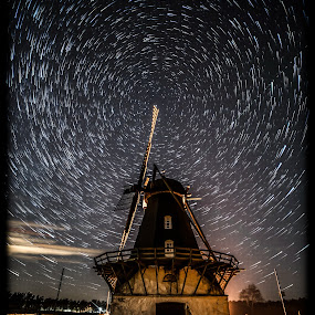 Old mill by Jocke Mårtensson - Buildings & Architecture Decaying & Abandoned ( mill, stars, dark, night, startrails,  )