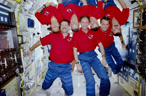 STS-90 inflight crew portraits