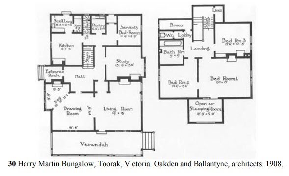 Floorplan, Harry Marttin Bungalow, Toorak