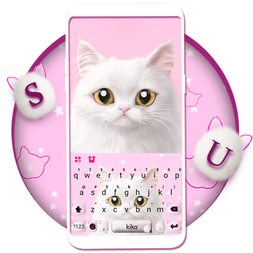 Cute White Cat Keyboard Theme Icon