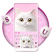 Free Download Cute White Cat Keyboard Theme APK for Samsung