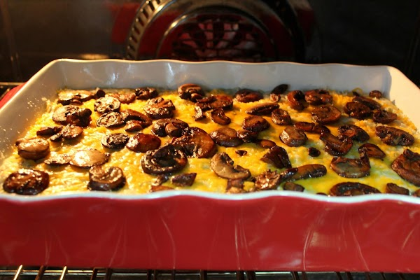 """In a 13""""x9"""" baking dish, pour in soup/green bean mixture.  Evenly sprinkle the..."""