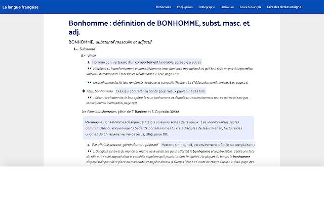 Dictionnaire : définitions mots français
